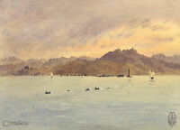 Sir Edgar Thomas Wigram, Dolphins off Corsica – Early C20th watercolour painting