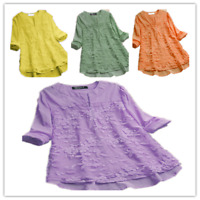 Womens V Neck Long Sleeve Floral Loose Tops Casual Plain Tee Shirt lace Blouse