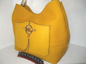 Michael Kors Large Hobo Shoulder Handbag Sun Yellow Canvas Amy Rope  NWT $228