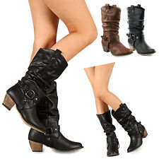 Women Pointed Toe Cowboy Cowgirl Mid Calf Boots Chunky Buckle Motorcycle Boots