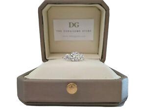 9ct white gold created diamond trilogy three stone ring gift idea size N