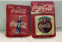 Vintage COCA COLA  coasters RETRO 1994 SET OF 12 Cork Backed Black Red