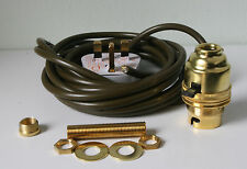 Brass switched lamp holder Kit BC fitting c/w 10mm thread and 3 metres of wire