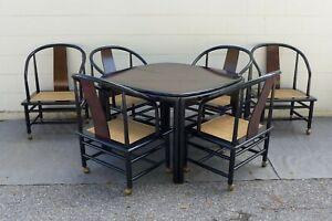 Henredon Scene 3 Dining Set Black Lacquer Burl Walnut Table 6 Cane Chairs 2 Leaf