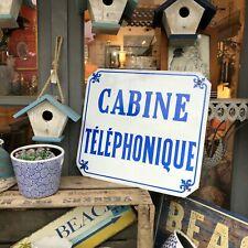 Plaque émaillée ancienne CABINE TELEPHONIQUE 40X36cm french porcelain sign