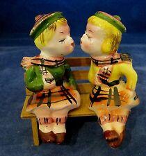Vintage Scottish Kissing Boy and Girl on Bench Salt and Pepper Figural SHP
