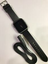 Pebble - Time Steel Smartwatch 38mm Stainless Steel - Black Leather