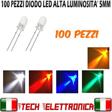 100 LED 5 mm DIODI LED 5MM ROSSO VERDE GIALLO BLU BIANCO ALTA LUMINOSITA'