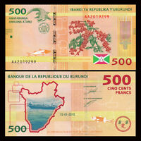 Burundi 500 Francs Banknote, 2015, P-50 New, UNC, Africa Paper Money