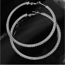 Creolen Creole Ohrring Ohrstecker Kristalle Straß silbern  4x4cm