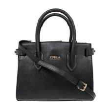Furla Pin Ladies Mini Black Onyx Textured Leather Tote 978752