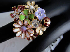 Ladybug and Butterfly Fancy Floral Couture Ring Gold Plated with Crystals