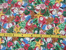 SANTA & GINGERBREAD OOP 100% quality cotton sew fabric 1/3 YARD PLUS lg scraps