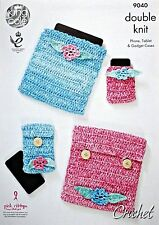 CROCHET PATTERN Mobile Phone, Gadget, Tablet Covers Cotton DK King Cole 9040
