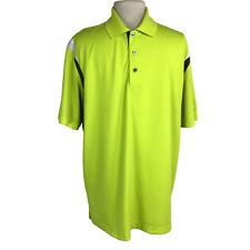 PGA Tour Men XL Golf Polo Shirt Relaxed Pique Knit SS Neon Green Gray White