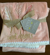 """Levtex Baby Little Feather Coral Blanket 30"""" x 40"""" Velour / Plush Sweet Dreams"""