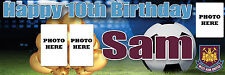 BIRTHDAY FOOTBALL PHOTO BANNER POSTER LARGE PERSONALISE ANY AGE TEXT NAME COLOUR