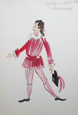 Vintage theatre costume design watercolor drawing signed