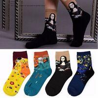 Peinture Art Chaussettes Nouveauté amusante Nuit étoilée Vintage Retro Socks