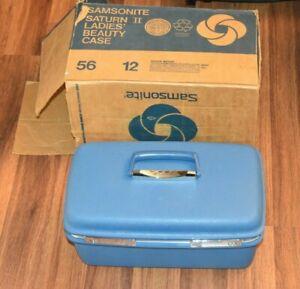 Vintage Blue SAMSONITE SATURN II COSMETIC Makeup Train Hard Case w/ ORIGINAL BOX