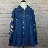 Bob Mackie Wearable Art Women Button 3X Jean Shirt Embroidered Floral Stretch