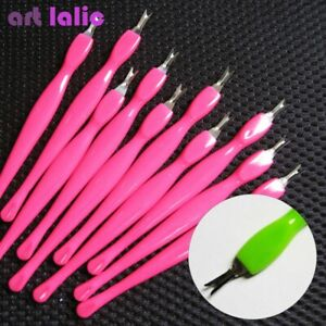10 X Cuticle Pusher Trimmer Remover & Round Tail Pedicure Manicure Nail Art Tool