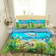 3D Marine Dolphin Small Fish Kep9305 Bed Pillowcases Quilt Duvet Cover Kay