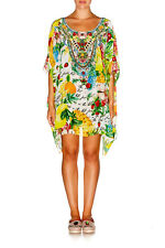 new CAMILLA FRANKS SILK SWAROVSKI THERES NO PLACE LIKE RIO ROUND NECK KAFTAN
