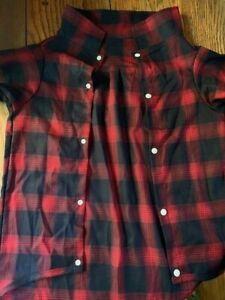 "Red/Black Plaid Dog Snap Up Dress Shirt - 5 XL Chest-36"" Back-30"" Short Sleeve"