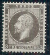 NORWAY #3P 3sk Oscar COLOR PROOF in gray on Laid paper, very scarce, Facit $250+
