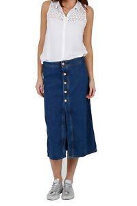 Button Front Midi Skirt - Midwash Ladies denim skirt calf-length UK 8  (Erin)