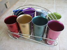 Vintage Anodized Aluminum USA West Bend Full Size Cups With Rack. Set of 8, RARE