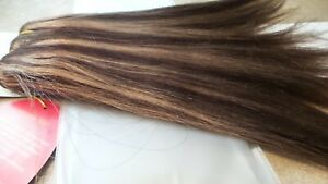 """NEW! Ebony GOLD 100% HUMAN HAIR YAKI WAVE 14"""" Highlighted Brown & Golden  WEAVE"""
