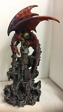 "12"" H Red Guardian Dragon Perching Castle Howling Figurine Statue"