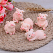 5Pcs Cute Pig Family Animal Model Figurine Miniature Fairy Garden Decoration NKH