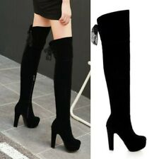Womens Thigh High Boots Block High Heel Over The Knee Thigh Leg Shoes Size 34-43