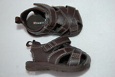 Baby Boys Shoes BROWN STRAPPY WOVEN SANDALS Semi Closed Toe MOCK LEATHER Size 2