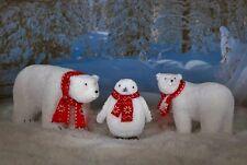 North Pole Polar Bear Penguin Combo Christmas Yard Animals + Spot Light Holder