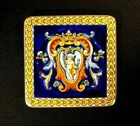 Beautiful Vintage Gien France Renaissance Fond Blue Square Sweets Plate