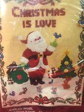 Bucilla Kit 48636 Christmas Is Love Jeweled Panel 16 X 21 USA Vintage Holidays