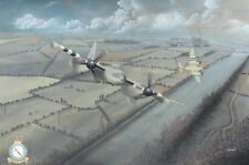 ORIGINAL WW2 AVIATION ART PAINTING RAF MOSQUITO FIGHTER BOMBERS RAF 248 SQUADRON