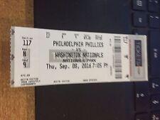 2016 NATIONALS VS PHILADELPHIA PHILLIES TICKET STUB 9/8 ALEC ASHER WIN #1