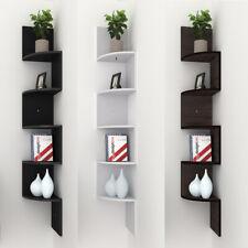 5-Tier Floating Wall Shelves Corner Shelf Storage Wood Display Bookcase Decor UK