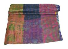 Vintage Silk Saree Patchwork Kantha Quilt King Bedding Bedspread Indian Throw **