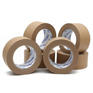6 Rolls Kraft Paper Packaging Tape - Strong, Heavy Duty and Secure Adhesive Tape