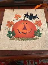 Halloween Hand Painted Pumpkin & Bat Metal CeilingTile - Preowned