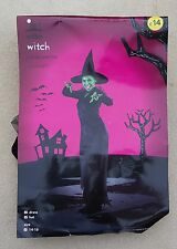 WILKO Ladies Womans Black Halloween Witch Witches Dress & Hat Outfit UK 14-16