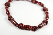 Handmade Red Art Glass Lampwork Bead Heart Choker Necklace