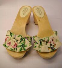 Lulu Guinness Floral Cuña Sandalia Zapatos De Madera Plataforma Tacones UK Size 5 EU 37 ex
