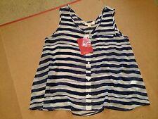 KENJI Womens NEW Stripy Button Up Top Size Small 10 Blue White Striped Tank BNWT